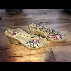 Dansko Wedge Silk Floral Sandals
